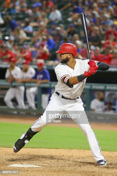 Jhan Marinez of the Texas Rangers throws in the ninth inning against the Chicago White Sox at Globe Life Park in Arlington on August 19 2017 in...