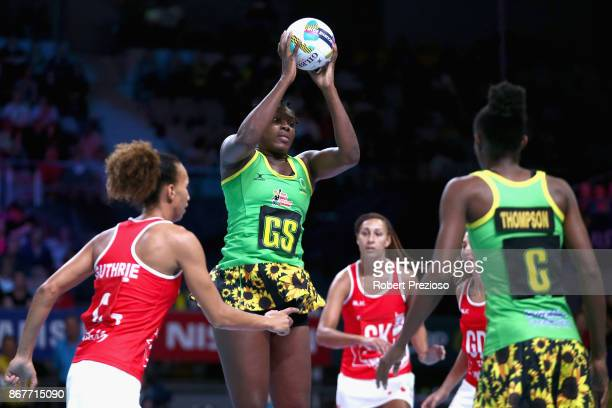 Jhaneile FowlerReid of Jamaica gathers the ball during the Fast5 World Series Netball match between Jamaica and England at Hisense Arena on October...