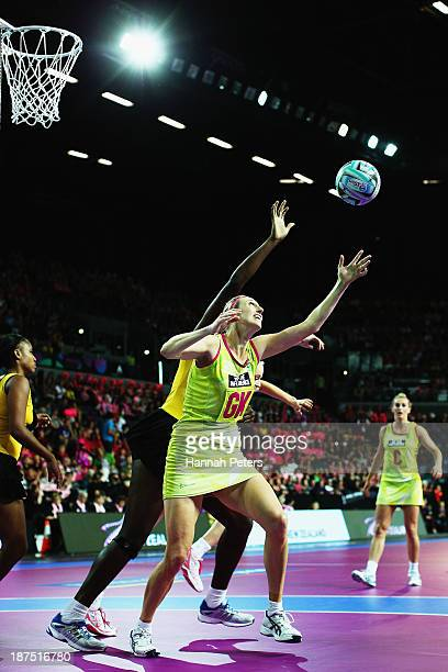 Jhaniele Fowler of Jamaica competes with Demelza McCloud of Australia during the semi final match between Jamaica and Australia on day three of the...