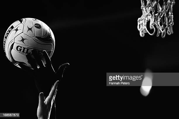 Jhaniele Fowler of the Steel competes for the ball against Julie Corletto of the Magic during the round eight ANZ Championship game between the...