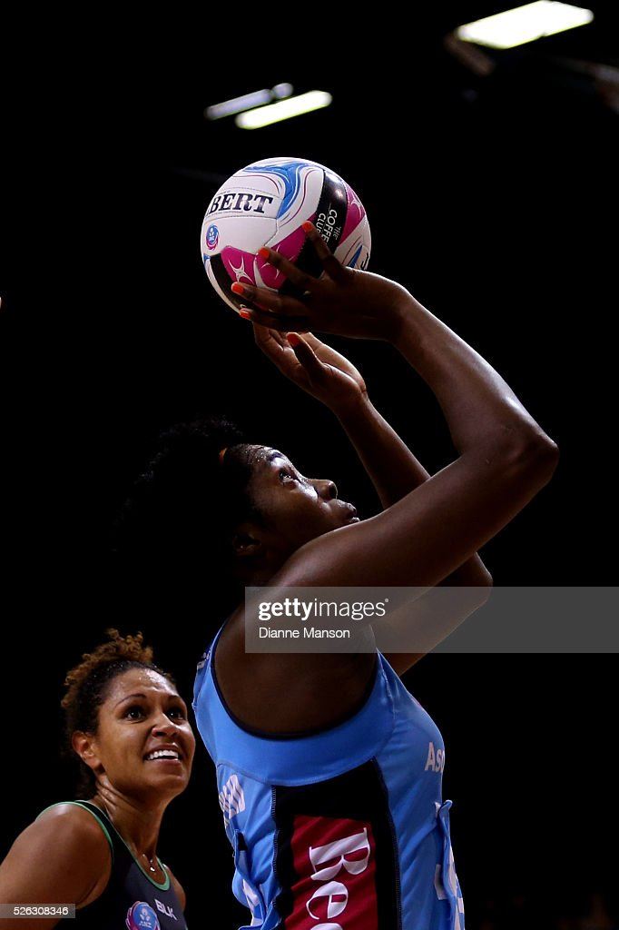 Jhaniele Fowler-Reid of the Steel attempts a shot at goal during the ANZ Championship match between the Steel and the Fever on April 30, 2016 in Invercargill, New Zealand.