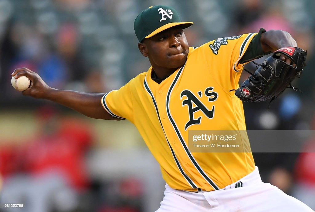 Jharel Cotton #45 of the Oakland Athletics pitches against the Los Angeles Angels of Anaheim in the top of the second inning at Oakland Alameda Coliseum on May 9, 2017 in Oakland, California.