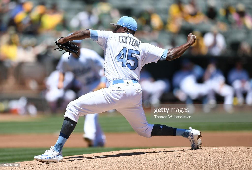Jharel Cotton #45 of the Oakland Athletics pitches against the New York Yankees in the top of the first inning at Oakland Alameda Coliseum on June 18, 2017 in Oakland, California.