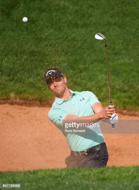 JHaydn Porteous of South Africa plays from a bunker on the 10th hole during the final round on day four of the DD REAL Czech Masters at Albatross...