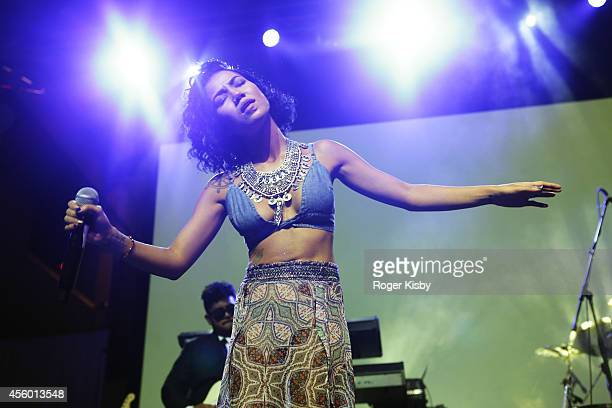 Jhene Aiko performs onstage during vitaminwater And The Fader Present uncapped With Jhene Aiko Ty Dolla $ign And Raury at The Skybox on September 23...