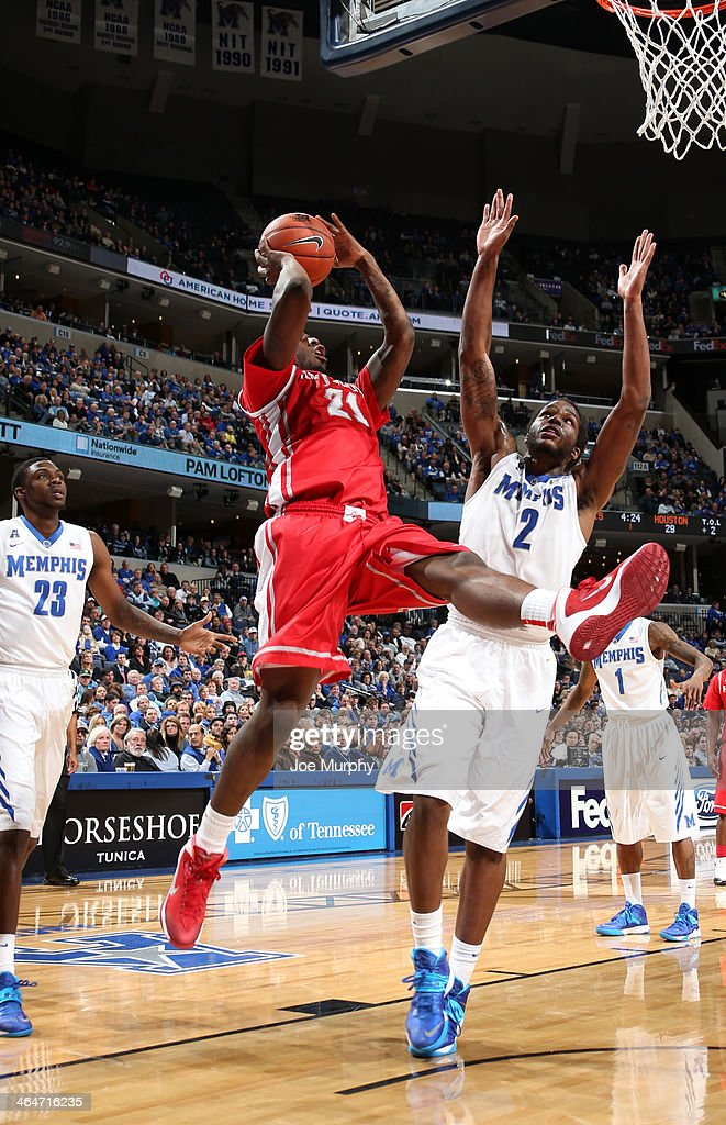 Jherrod Stiggers #21 of the Houston Cougars shoots against Shaq Goodwin #2 of the Memphis Tigers on January 23, 2014 at FedExForum in Memphis, Tennessee. Memphis beat Houston 82-59.