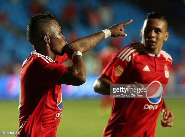 Jhoao Hinestroza of America de Cali celebrates after scoring the second goal of his team during a match between America de Cali and Deportes Quindio...