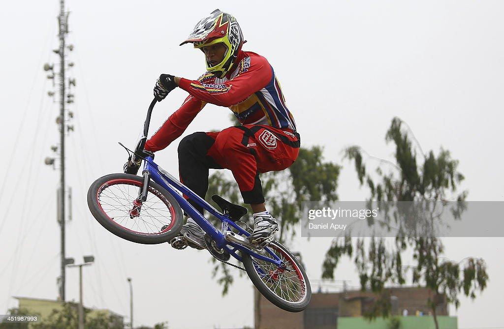 Jholman Sivira of Venezuela competes in BMX time trial Men«s final as part of the XVII Bolivarian Games Trujillo 2013 at Parque Huiracocha on November 25, 2013 in Lima, Peru.