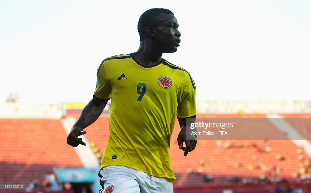 Jhon Cordoba of Colombia celebrates after scoring his team's first goal during the FIFA U-20 World Cup Group C match between Colombia and Australia at Huseyin Avni Aker Stadium on June 22, 2013 in Trabzon, Turkey.