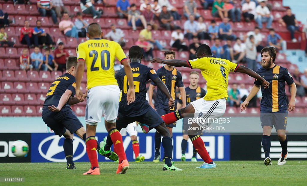 Jhon Cordoba (2nd R) of Colombia scores his team's first goal during the FIFA U-20 World Cup Group C match between Colombia and Australia at Huseyin Avni Aker Stadium on June 22, 2013 in Trabzon, Turkey.