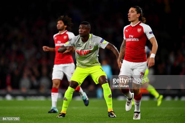 Jhon Cordoba of FC Koeln looks on as he scores the first goal during the UEFA Europa League group H match between Arsenal FC and 1 FC Koeln at...