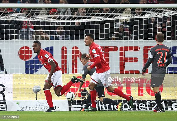 Jhon Cordoba of FSV Mainz 05 celebrates after scoring a goal during the Bundesliga match between 1 FSV Mainz 05 and Bayern Muenchen at Opel Arena on...