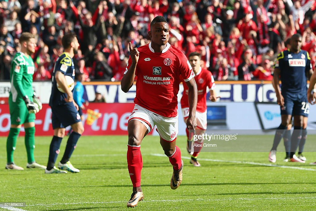Jhon Cordoba of Mainz celebrates his team's first goal during the Bundesliga match between 1. FSV Mainz 05 and 1. FC Koeln at Coface Arena on April 17, 2016 in Mainz, Germany.