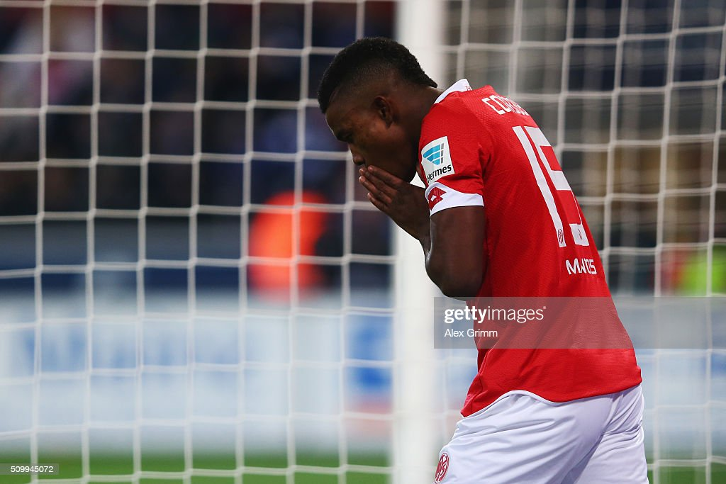 Jhon Cordoba of Mainz reacts during the Bundesliga match between 1. FSV Mainz 05 and FC Schalke 04 at Coface Arena on February 12, 2016 in Mainz, Germany.