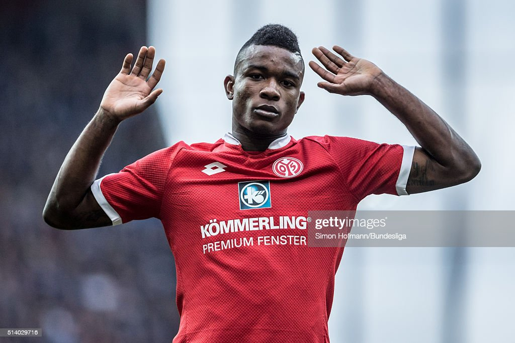 Jhon Cordoba of Mainz reacts during the Bundesliga match between 1. FSV Mainz 05 and SV Darmstadt 98 at Coface Arena on March 6, 2016 in Mainz, Germany.