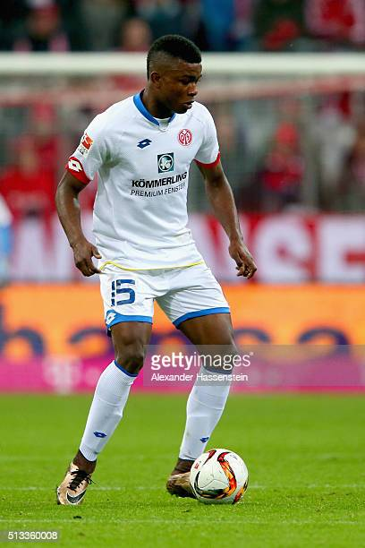 Jhon Cordoba of Mainz runs with the ball during the Bundesliga match between FC Bayern Muenchen and 1 FSV Mainz 05 at Allianz Arena on March 2 2016...