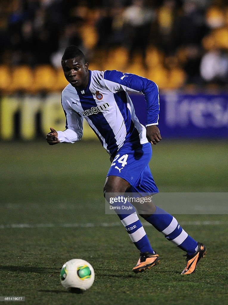 Jhon Cordoba of RCD Espanyol in action during the Copa del Rey Round of 16, 1st leg match between Alcorcon and Espanyol at Estadio Municipal de Santo Domingo on January 8, 2014 in Madrid, Spain.