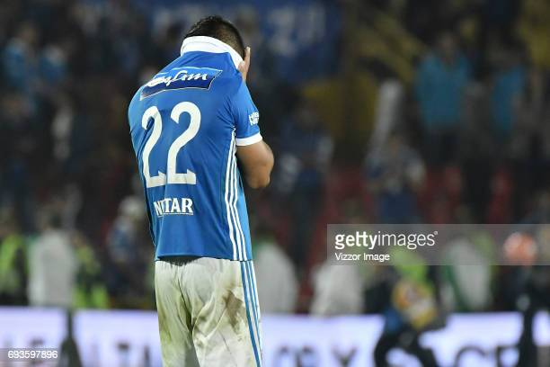 Jhon Duque Arias of Millonarios looks dejected after the Semi Finals first leg match between Millonarios and Atletico Nacional as part of Liga Aguila...