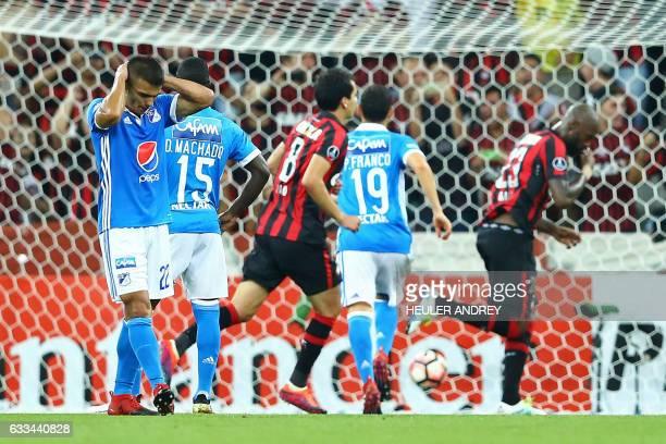 Jhon Duque from Colombia's Millonarios gestures during their Copa Libertadores football match with Atletico Paranaense at the Arena da Baixada...