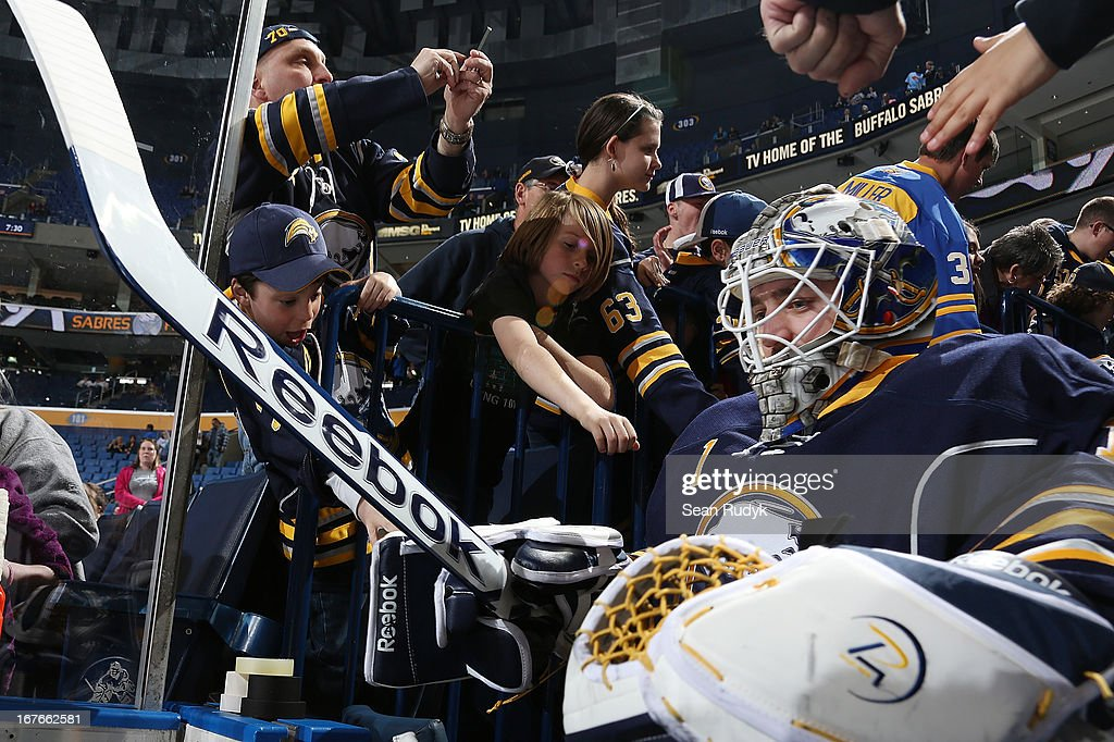 Jhonas Enroth #1 of the Buffalo Sabres is greeted by fans as he takes to the ice before playing against the Winnipeg Jets at First Niagara Center on April 22, 2013 in Buffalo, New York.