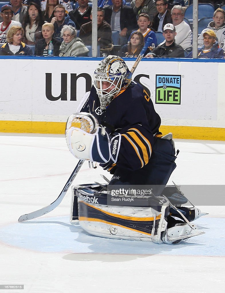 Jhonas Enroth #1 of the Buffalo Sabres skates against the Winnipeg Jets at First Niagara Center on April 22, 2013 in Buffalo, New York.