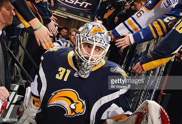 Jhonas Enroth of the Buffalo Sabres takes to the ice against the Anaheim Ducks on February 24 2009 at HSBC Arena in Buffalo New York