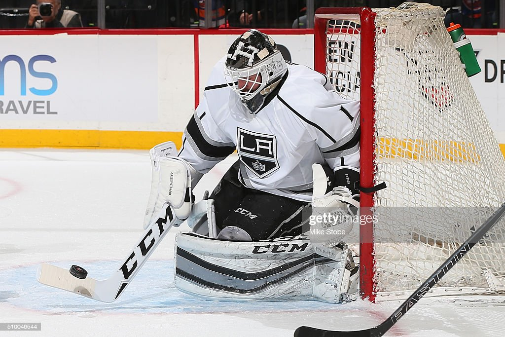 Jhonas Enroth #1 of the Los Angeles Kings skates against the New York Islanders at the Barclays Center on February 11, 2016 in Brooklyn borough of New York City. The Islanders defeated the Kings 5-2.