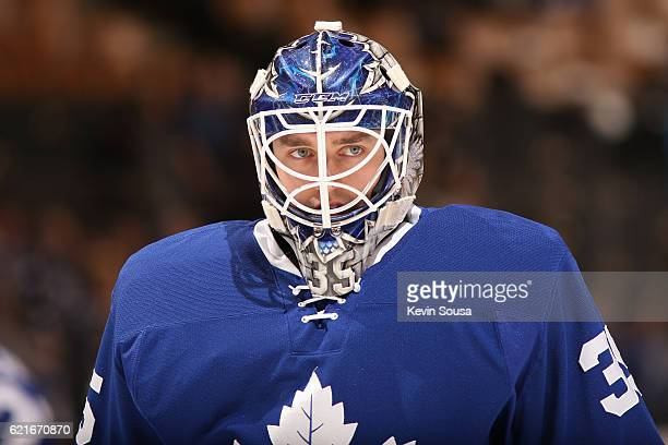Jhonas Enroth of the Toronto Maple Leafs during the pregame warmup at the Air Canada Centre on November 5 2016 in Toronto Ontario Canada