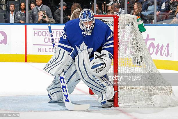 Jhonas Enroth of the Toronto Maple Leafs during the third period against the Vancouver Canucks at the Air Canada Centre on November 5 2016 in Toronto...