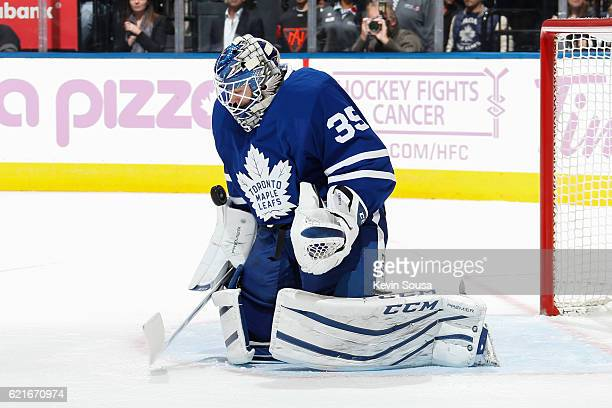 Jhonas Enroth of the Toronto Maple Leafs saves a save against the Vancouver Canucks during the third period at the Air Canada Centre on November 5...