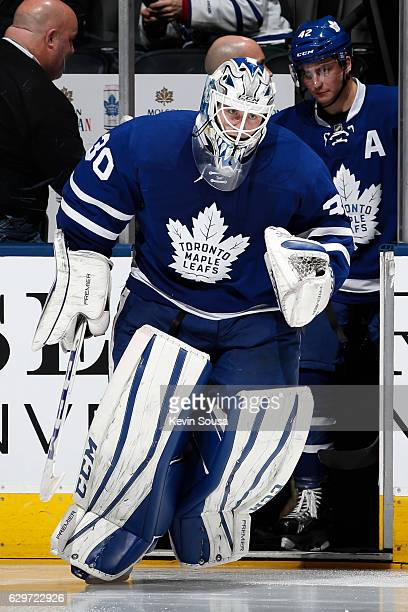 Jhonas Enroth of the Toronto Maple Leafs takes the ice before the start of the third period at NHL game against the Colorado Avalanche at the Air...