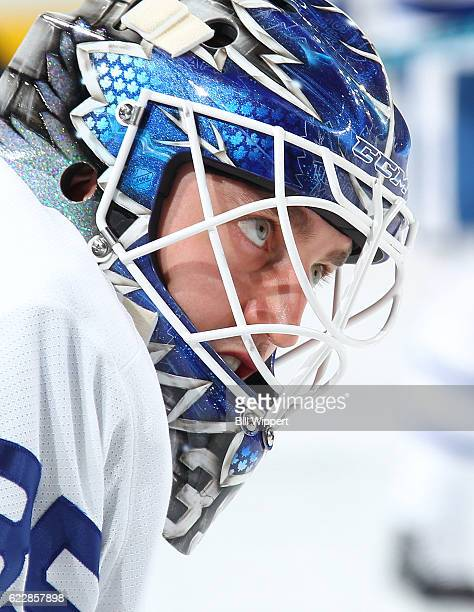 Jhonas Enroth of the Toronto Maple Leafs warms up before an NHL game against the Buffalo Sabres at the KeyBank Center on November 3 2016 in Buffalo...