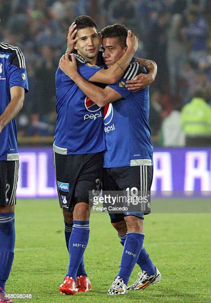 Jhonatan Agudelo and Maximiliano Núñez of Millonarios celebrate their victory against Boyaca Chico FC after a match between Millonarios and Boyaca...