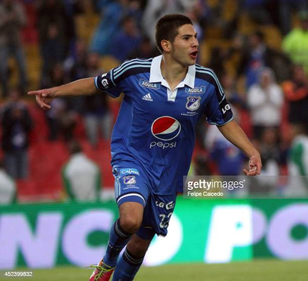 Jhonatan Agudelo of Millonarios celebrates a scored goal against Envigado during a match between Millonarios and Envigado as part of the Liga...