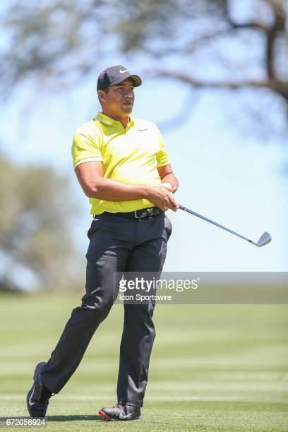 Jhonattan Vegas follows his shot during the 4th round of the Valero Texas Open at the TPC San Antonio Oaks Course in San Antonio TX on April 23 2017