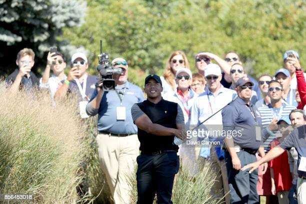 Jhonattan Vegas of Venezuela and the International team on the first hole in his match against Jordan Spieth during the final day singles matches...