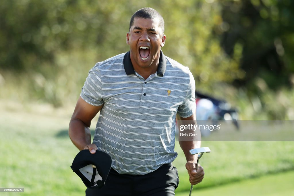 Jhonattan Vegas of Venezuela and the International Team reacts on the 13th green during Friday four-ball matches of the Presidents Cup at Liberty National Golf Club on September 29, 2017 in Jersey City, New Jersey.