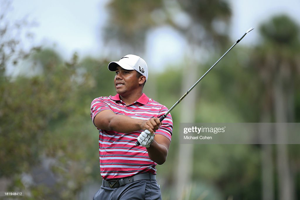 <a gi-track='captionPersonalityLinkClicked' href=/galleries/search?phrase=Jhonattan+Vegas&family=editorial&specificpeople=4466874 ng-click='$event.stopPropagation()'>Jhonattan Vegas</a> of Venezuela hits a shot during the first round of the Web.com Tour Championship held on the Dye's Valley Course at TPC Sawgrass on September 26, 2013 in Ponte Vedra Beach, Florida.