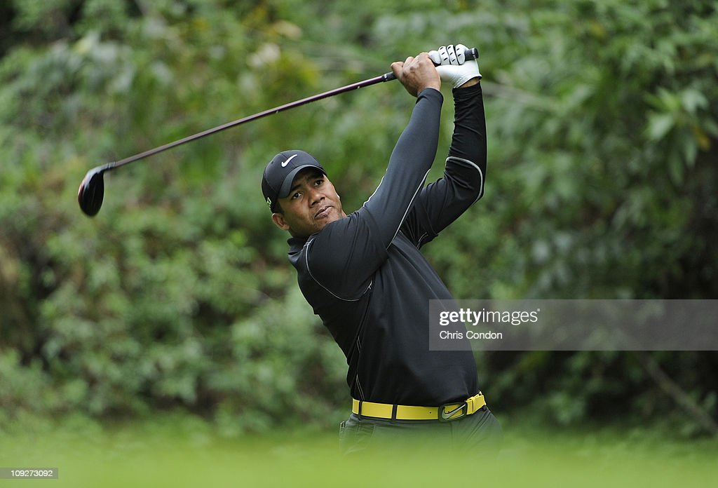 Jhonattan Vegas of Venezuela hits from the 12th tee during the second round of the Northern Trust Open at Riviera Country Club on February 18, 2011 in Pacific Palisades, California.