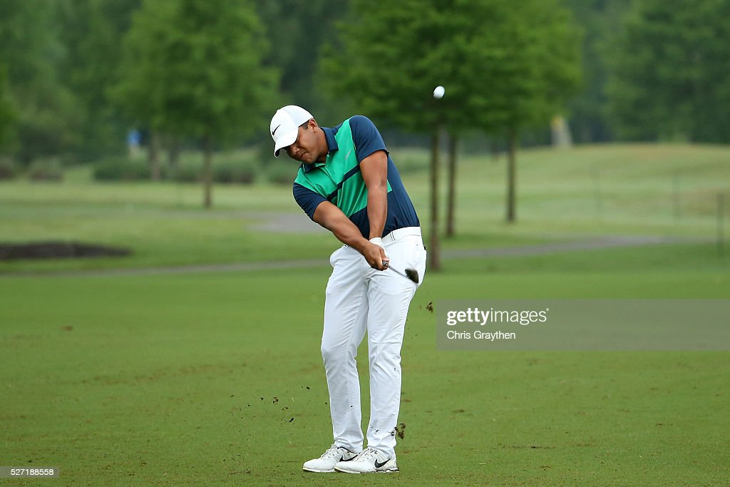 <a gi-track='captionPersonalityLinkClicked' href=/galleries/search?phrase=Jhonattan+Vegas&family=editorial&specificpeople=4466874 ng-click='$event.stopPropagation()'>Jhonattan Vegas</a> of Venezuela hits from the fairway on the 7th hole during a continuation of the third round of the Zurich Classic at TPC Louisiana on May 2, 2016 in Avondale, Louisiana.