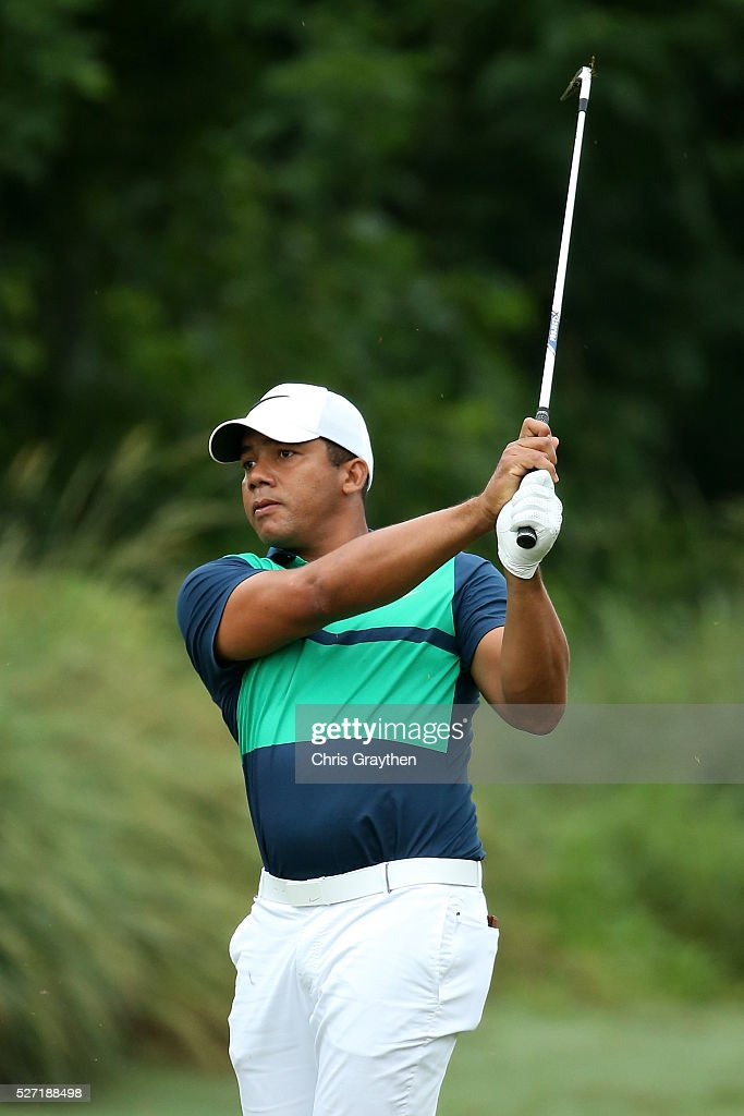 Jhonattan Vegas of Venezuela hits his second shot on the 8th hole during a continuation of the third round of the Zurich Classic at TPC Louisiana on May 2, 2016 in Avondale, Louisiana.