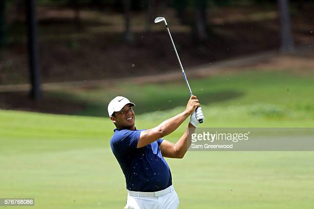 Jhonattan Vegas of Venezuela hits off the third hole during the final round of the Barbasol Championship at the Robert Trent Jones Golf Trail at...
