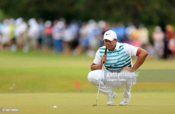 Jhonattan Vegas of Venezuela lines up a putt for birdie on the 18th green during the final round of the RBC Canadian Open at Glen Abbey Golf Club on...