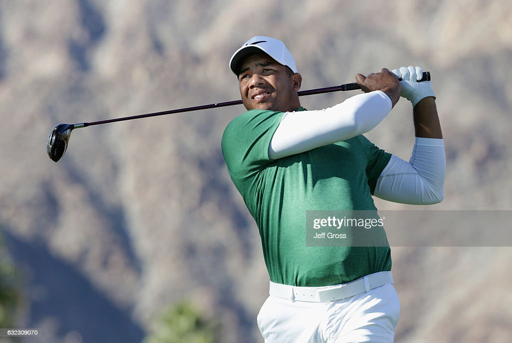 Jhonattan Vegas of Venezuela plays his shot from the 11th tee during the third round of the CareerBuilder Challenge in Partnership with The Clinton Foundation at the La Quinta Country Club on January 21, 2017 in La Quinta, California.