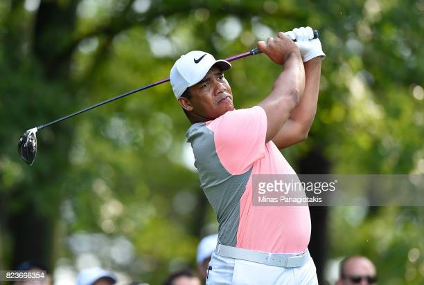 Jhonattan Vegas of Venezuela plays his shot from the 11th tee during round one of the RBC Canadian Open at Glen Abbey Golf Club on July 27 2017 in...