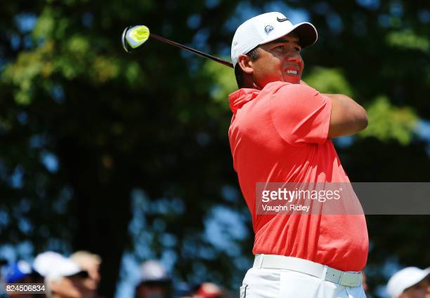 Jhonattan Vegas of Venezuela plays his shot from the first tee during the final round of the RBC Canadian Open at Glen Abbey Golf Club on July 30...