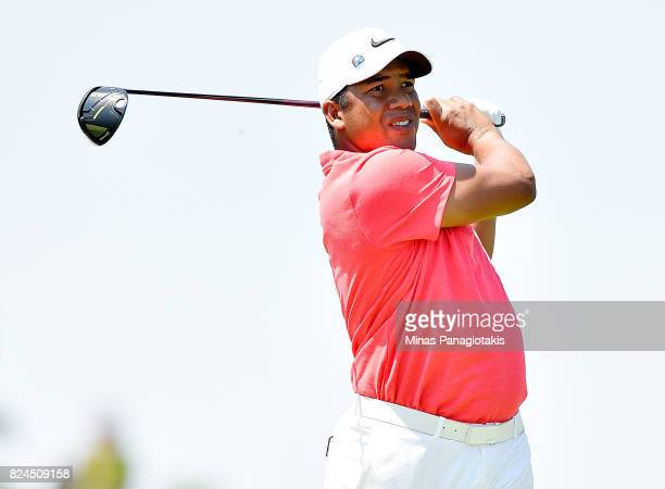 Jhonattan Vegas of Venezuela plays his shot from the third tee during the final round of the RBC Canadian Open at Glen Abbey Golf Club on July 30...