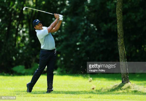 Jhonattan Vegas of Venezuela plays his shot on the second hole during the third round of the RBC Canadian Open at Glen Abbey Golf Club on July 29...