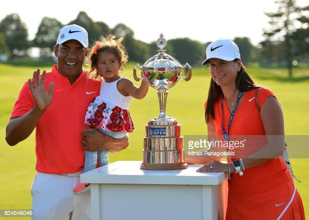 Jhonattan Vegas of Venezuela poses with his wife Hildegard daughter Sharlene 16 months and the trophy following the final round of the RBC Canadian...