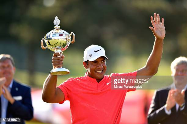 Jhonattan Vegas of Venezuela poses with the trophy following the final round of the RBC Canadian Open at Glen Abbey Golf Club on July 30 2017 in...